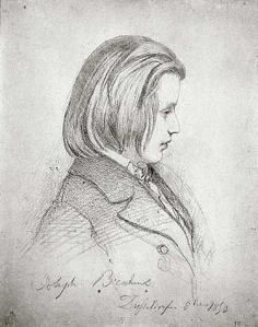 Dibujo a lápiz de Johannes Brahms a los 20 años, dibujado a petición de Schumann.