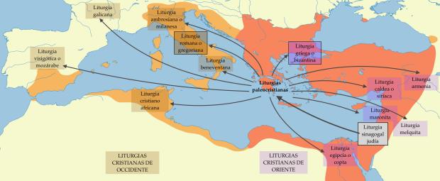 Desarrollo de las liturgias cristianas de Oriente y Occidente entre los siglos IIII y VIII.