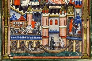 Acceso a París a través del puente, en una iluminación medieval.