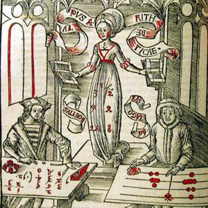 Representación de Pitágoras y Boecio en un grabado medieval.