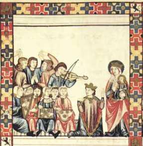 El rey Alfonso X El Sabio rinde pleitesía a Santa María ofreciéndole sus célebres cántigas.