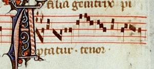 """Un tenor muy utilizado como base de los motetes en el siglo XIII: """"Aptatur"""", en una realización isorrítmica."""