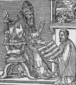Palestrina ante el papa Julio III en el frontispicio del Missarum Liber Primus (Roma, 1554).