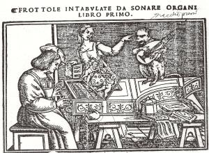 Portada de Frottole intabulate [1517] de Andrea Antico, colección de frottolas en tablaturas para tecla.