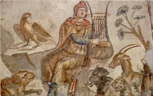 Mosaico que representa a Orfeo, protagonista de la primera ópera de Claudio Monteverdi.