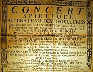 Anuncio de un concert spirituel celebrado en agosto de 1754.