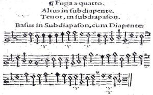 Fuga a cuatro de Francisco de Montanos, incluida en su Arte de Música teórica y práctica [1592].