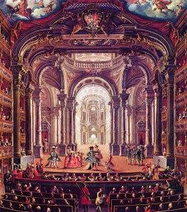 Escena del Teatro Real de Turín en un cuadro del siglo XVIII firmado por Pietro Domenico Oliviero.