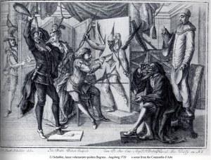 Escena de una representación basada en la commedia dell'arte, en un grabado de 1729.