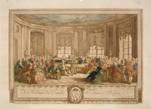 Concierto en la casa de la Condesa de Saint Brison. Grabado de Antoine Jean Duclos.