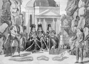 Escena de La flauta mágica, Singspiel de W.A. Mozart en un grabado de Joseph and Peter Schaffer, [1791].