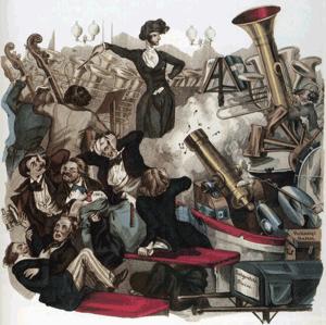 Berlioz dirigiendo [1846] en una caricatura de Louis Reybaud.