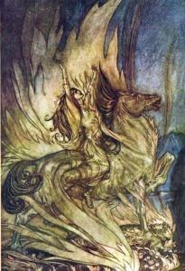 Inmolación de Brunilda, por Arthur Rackham.