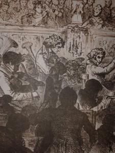 Grabado que ilustra el estreno de la Sinfonía nº9 de Beethoven, con el compositor al frente.