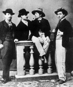 El pintor Daniele Ranzoni junto a otros artistas scapigliati.