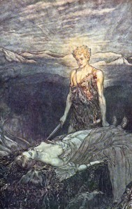 Despertar de Brunilda, por Arthur Rackham.