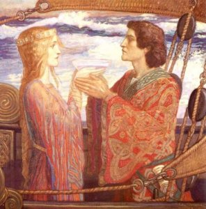 Tristan comparte con Isolde el filtro de amor [1912] por John Duncan.