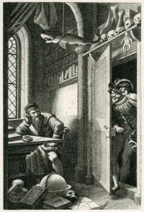 Fausto y Mefistófeles [1828], escena del drama romántico alemán arquetípico de Goethe en un grabado de Carl August Schwerdgeburth.