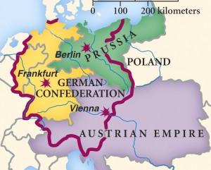 Prusia, el Imperio austríaco y los restantes estados (en amarillo) miembros de la Confederación germánica.