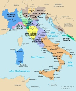 La península italiana a principios del siglo XIX.
