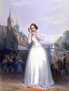 """Jenny Lind -""""el ruiseñor sueco""""- en una escena de La sonámbula [] de Vincenzo Bellini."""