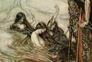Ilustración de Arthur Rackham de una escena de El Anillo del nibelungo [1876] de Richard Wagner.