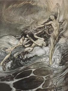 Las ondinas recuperan el anillo del nibelungo en medio de un incendio e inundación de proporciones colosales (dibujo de Arthur Rackham).