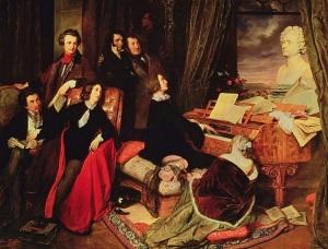 Idealizada velada musical, con Liszt, Rossini y Paganini, junto con Alexandre Dumas, Victor Hugo, la travestida George Sand y la amante de Liszt, Marie d'Agoult, bajo el busto de Beethoven y un retrato de Lord Byron, en un óleo de 1840 de Danhauser.