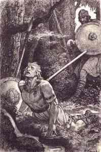 La muerte de Sigfrido, por Arthur Rackham.