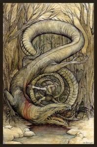 Sigfrido abate al dragón Fafner, en un grabado de Arthur Rackham.