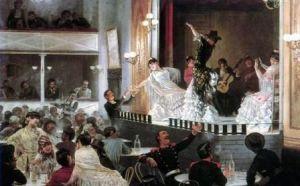 Baile flamenco [] de Josep Llovera y Bofill, muestra a artistas gitanos en un café cantante.