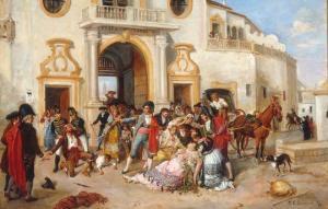 Muerte de Carmen [1890], en un óleo de Manuel Cabral Aguado Bejarano.