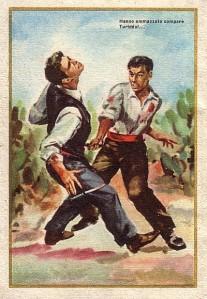 Cromo con una escena de Cavalleria rusticana [1880] de Pietro Mascagni.