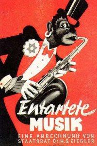 """Cartel de la exposición de """"música degenerada"""" organizada por las autoridades nazis en Düsseldorf en 1938."""