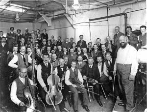 La Orquesta Filarmónica de Berlín en 1913.