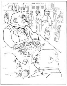 Dibujo satírico de George Grosz.