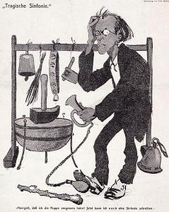 Caricatura de Mahler dirigiendo su Sinfonía nº6 en 1907.