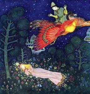 El pájaro de fuego en una ilustración de Edmund Dulac [1916].