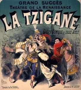 Anuncio de La gitana [1877], opereta de asunto zíngaro de Johann Strauss.