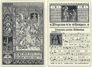 Páginas iniciales del Gradual gregoriano publicado por Dom Pothier, de la Abadía de Solesmes, en 1883.