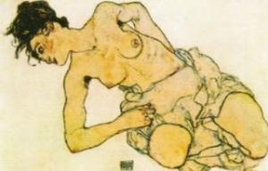 Mujer semidesnuda de rodillas, de Egon Schiele
