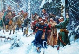 Escena de La vida por el zar [1836] de Glinka, ópera de asunto histórico y patriótico considerada la primera ópera nacional rusa.