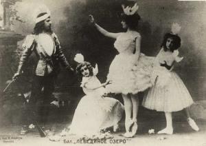 Escena de El lago de los cisnes [1877] de P. I. Chaikovsky en una producción del Teatro Bolshoi de 1901.