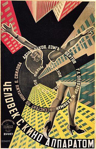 Cartel del film El hombre de la cámara [1929], film futurista de Dziga Vertov