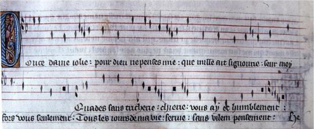 """Manuscrito del virelai """"Douce Dame jolie"""" en notación rítmica francesa."""