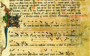 Manuscrito con música de Jaufre Rudel