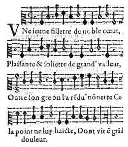 Versión de la melodía recogida en la antología de Jehan Chardavoine [1537].