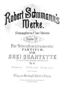 Portada de los cuartetos op.41 de Robert Schumann