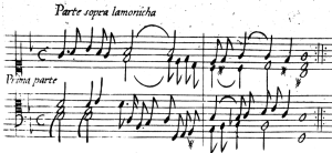 Partite sopra l'aria della Monica de Frecobaldi, sobre pentagramas de seis y ocho líneas.