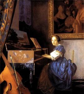 Mujer tocando el virginal, Vermeer de Delft, ca.1673.